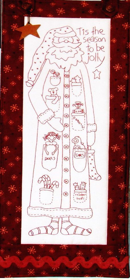 PATTERN Jolly Santa quick and easy Christmas stitchery di kate54