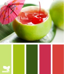 Links to my blog post Color Commentary. This sipping brights palette from Design Seeds has the greens of my kitchen; I'm going to add that cherry red as an accent.