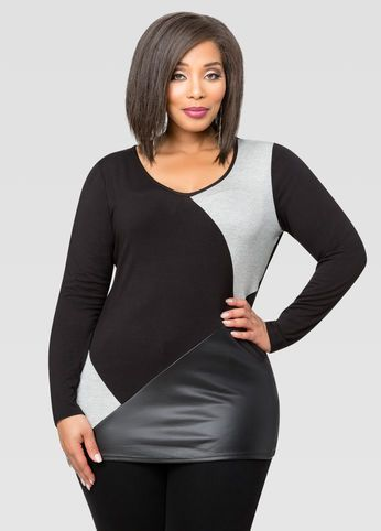 Geo Colorblock Leather Trim Top Ashley Stewart