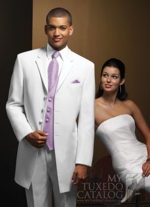 White Tux With Lavender Tie And Vest