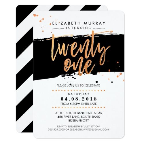 16 best 21st birthday party invitations images on pinterest 21st 21st birthday invitations hand lettered script type trendy copper foil black card filmwisefo