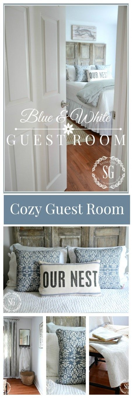 BLUE AND WHITE GUEST ROOM A cozy guest room with a vintage feel!
