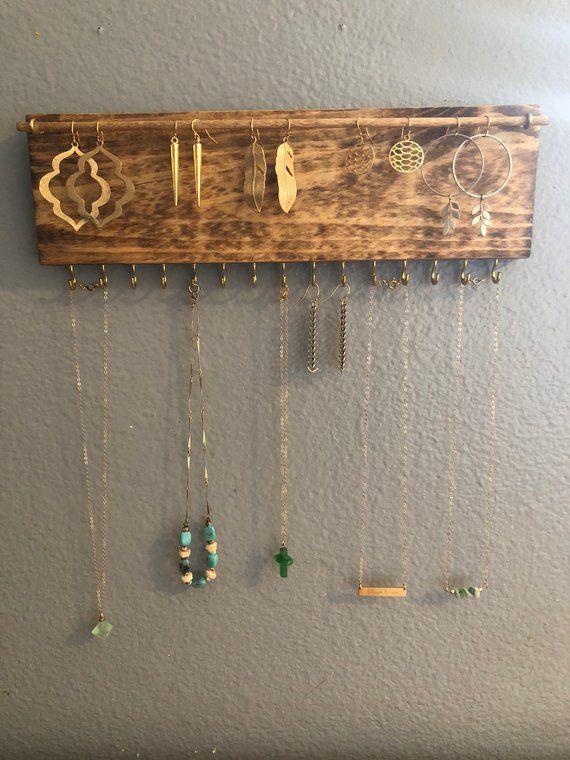 Jewelry Organizer Wall, Earring Holder, Jewelry Organizer, Jewelry Holder, Earring Storage, B…
