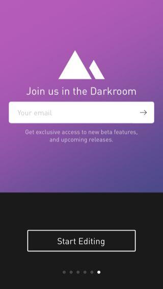 Darkroom iPhone onboarding, sign up flows screenshot