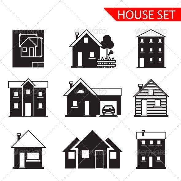 House Silhouette Iicons Set House Silhouette House Illustration White Exterior Houses
