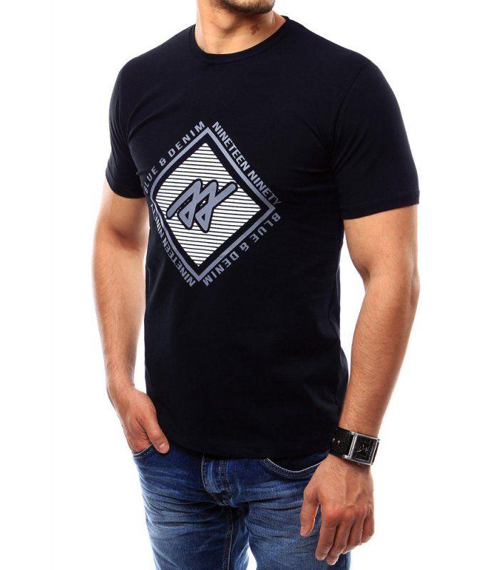 Pánske tričko s potlačou tmavomodré