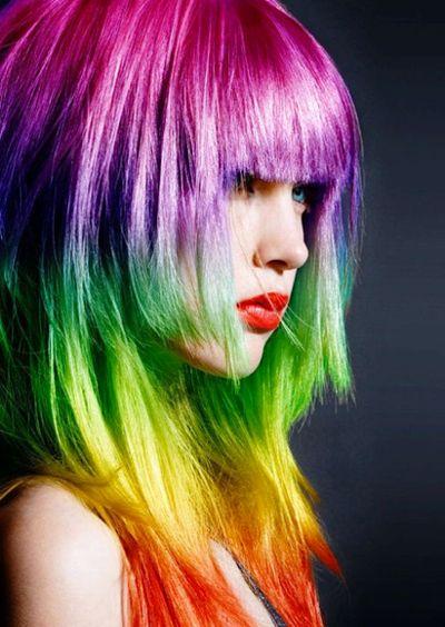 rainbow gradient hairRainbows Hair, Hair Colors, Haircolor, Dips Dyes, Rainbow Hair, Rainbowhair, Hair Style, Wigs, Colors Hair