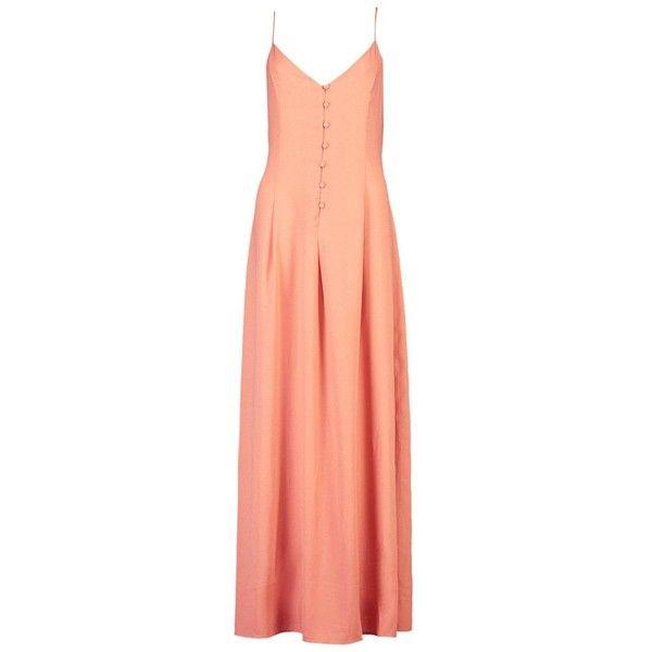 Boohoo Lola Button Through Maxi Dress (€35) ❤ liked on Polyvore featuring dresses, jersey maxi dress, bodycon maxi dress, red camisole, red maxi dress and bodycon midi dress
