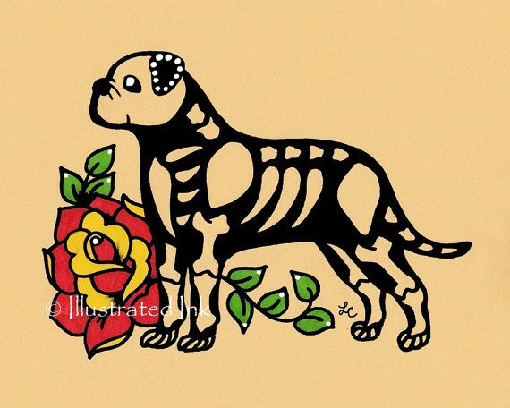 Day of the Dead Dog BULLMASTIFF Dia de los Muertos Art Print 5 x 7 or 8 x 10 - Choose your own words - Donation to Austin Pets Alive