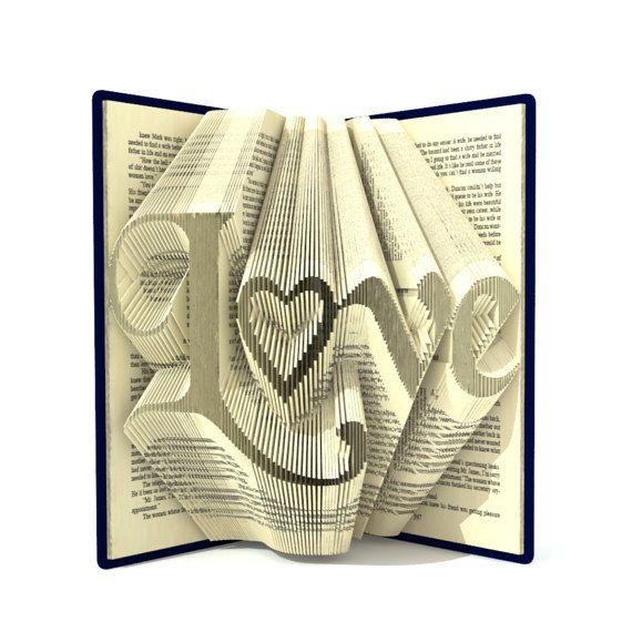 Boek vouwen patronen - LOVE - 278 plooien, + Tutorial gevouwen kunst Valentijnsdag DIY cadeau - hart - WO0103