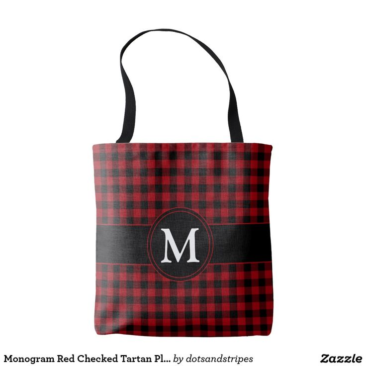 Fashionable Red Checked Tartan Plaid Pattern With Individualized Monogram Tote Shopping Bag