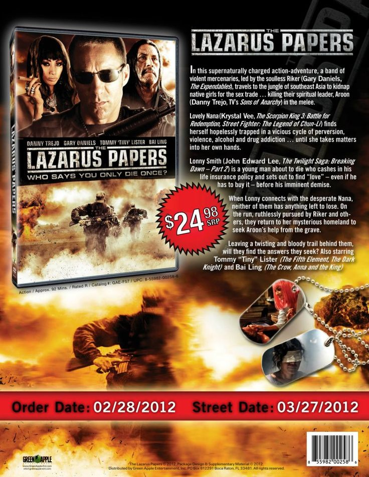 "#Movie #IMDb #Movies #DVD #DVDs #Film #Films #ActionMovie #ActionMovies #ActionFilms (Short Synopsis) ""THE #LAZARUS PAPERS is a supernatural #actionfilm that will keep you on the edge of your seat until the climatic #action filled ending."" (Starring) #DannyTrejo (Machete), #GaryDaniels (The Expendables, Fist of the North Star), Tommy 'Tiny' Lister (Friday, The Dark Knight), #KrystalVee (Street Fighter: The Legend of Chun-Li), and #BaiLing (The Crow, Anna and the King)."