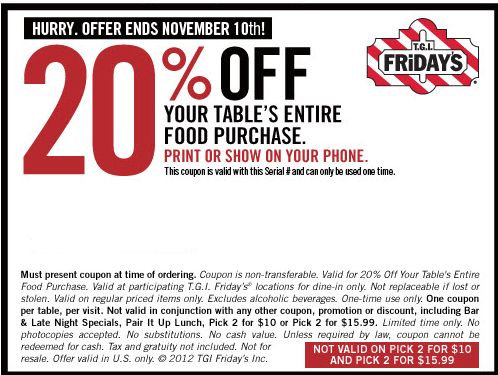 graphic relating to Tgifridays Printable Coupons known as Tgi fridays coupon codes 2018 november / Discount codes 30 off