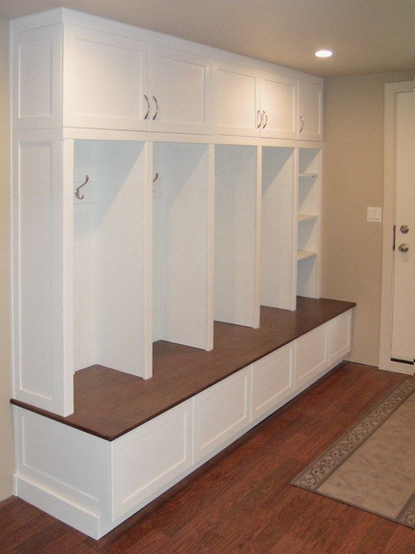 Basement Laundry Room: Mudroom Lockers, Bench, And Cabinets