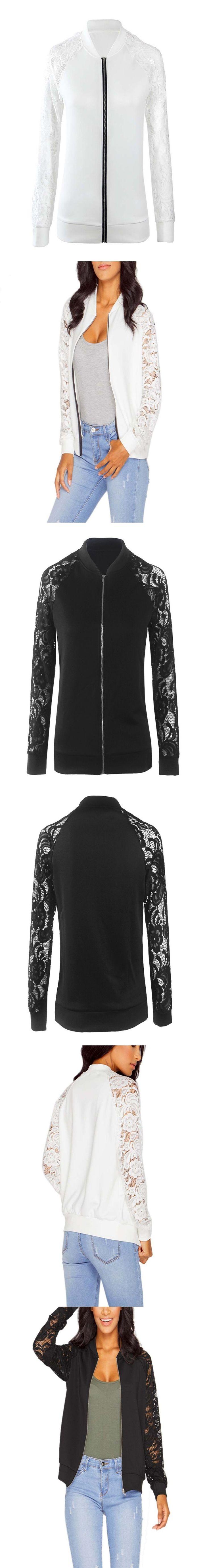 2016 Bomber Jacket Women Basic Suit Coats Fashion Lace Long Sleeve Zipper Solid Black White Short Jackets Outwear S1