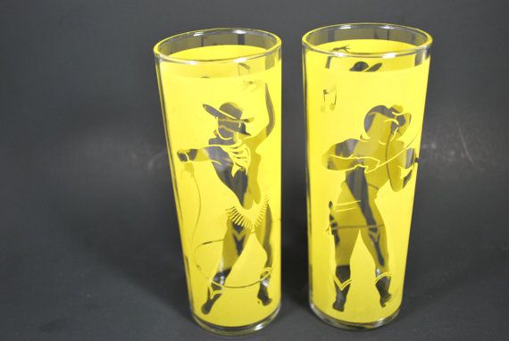 Frosted Tumblers Cowboy and Cowgirl Mid Century Barware Libbey Frosted Glasses