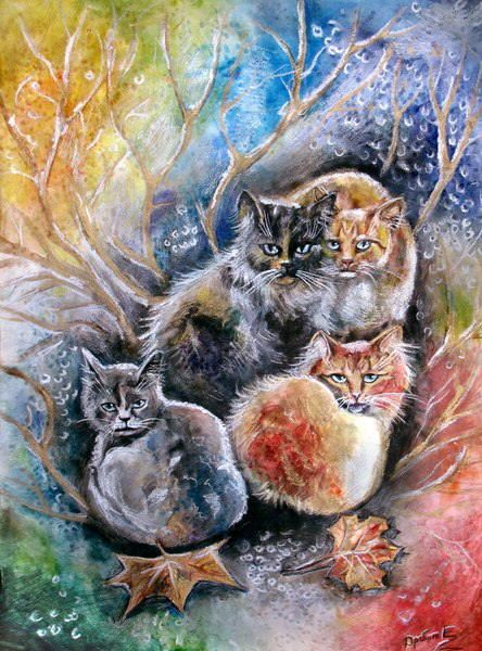 Autumn cat painting. Yevgenia Drobot