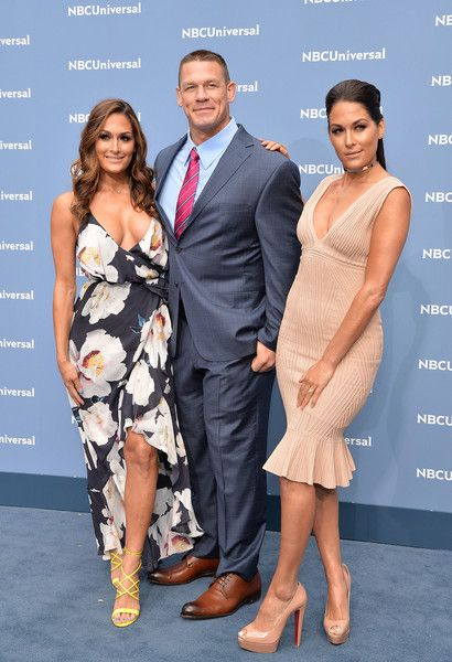 Brie Bella Photos - (L-R) Nikki Bella, John Cena and Brie Bella attend the NBCUniversal 2016 Upfront Presentation on May 16, 2016 in New York, New York. - NBCUniversal 2016 Upfront Presentation