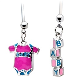 Two of our popular pregnancy belly rings.