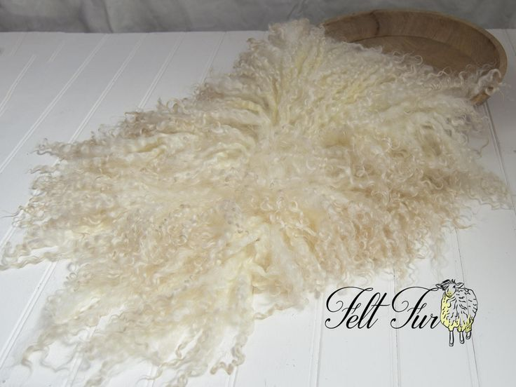 Beautiful Curly Fur Felted Rug E003  Newborn Photography Posing Prop. Natural Cream, yellow, beige. Size E. Ready to Ship. by FeltFur on Etsy