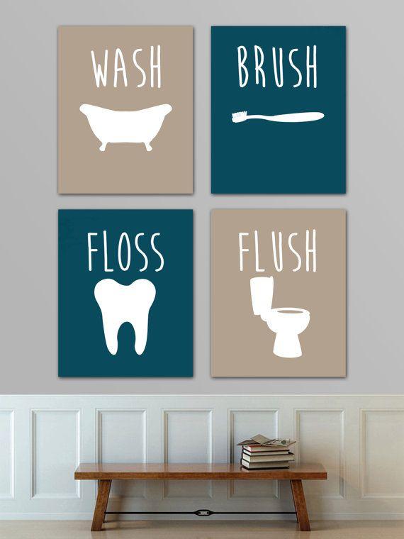 Wash Brush Floss Flush  Peacock teal and by EdmondsonbyDesign
