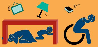Earthquake Country Alliance: Seven Steps to Earthquake Safety Step 5: Drop, Cover, and Hold On when the earth shakes.