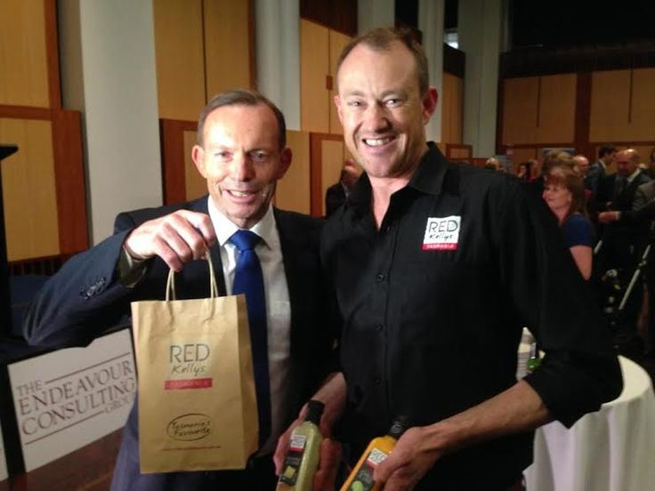 Just hanging with Prime Minister Tony Abbott - This is what happens when you're the only Australian made family owned dressing company stocked nationally in major supermarket chains (also available in selected independent retail outlets)!  Just yesterday, Red Kellys Tasmania's Managing Director, Leo Miller met with PM Tony Abbott at the Flavours of Tasmania event organised by Senator Eric Abetz at Parliament House in Canberra.