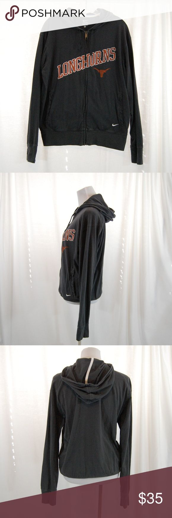 """🆕 (UNISEX) Nike UT (Texas) Longhorns Zip Hoodie Nike. Dark gray with """"longhorns"""" and logo on front only.  Lightweight / 100% cotton. Great year round. Full zip. Pockets at front. Full hood to pull up if needed.  Great condition - worn and washed once. However, there is a small little hole (got snagged on something) near the zipper - see picture for size comparison to fingernail. Super hard to see.  Men's Medium, but great on both men & women!  Approximate measurements (taken flat & zipped)…"""