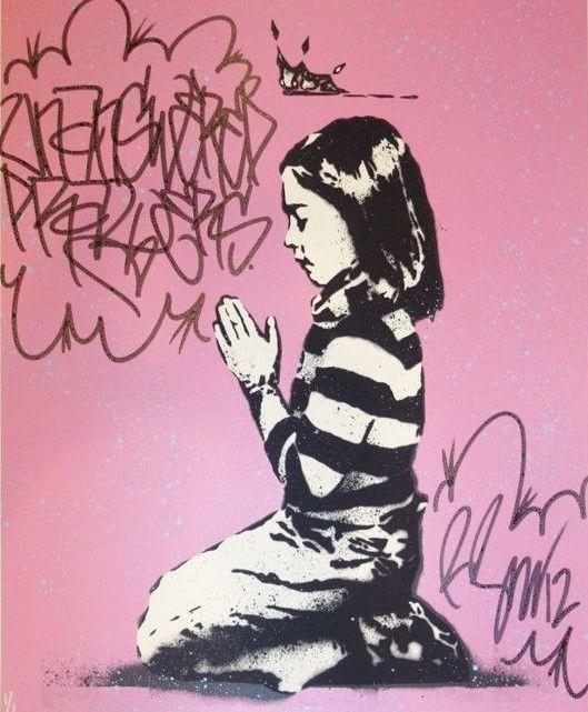 """Rene Gagnon - onbeantwoorde gebeden  Onbeantwoorde gebedenRene GagnonOriginele Art Print2012Ondertekend genummerde tagged en spetterde in inkt/verf door de kunstenaar! -1/1Maat 20 """"x 24""""Rene Gagnon werd in 1971 geboren en wist op een jonge leeftijd dat hij wilde verkennen en definiëren van zijn artistieke identiteit door middel van straat kunst. Toen hij jong was ontmoette hij een ander graffitikunstenaar Ster genoemd en hij begonnen met het leren van nieuwe technieken en aan verschillende…"""