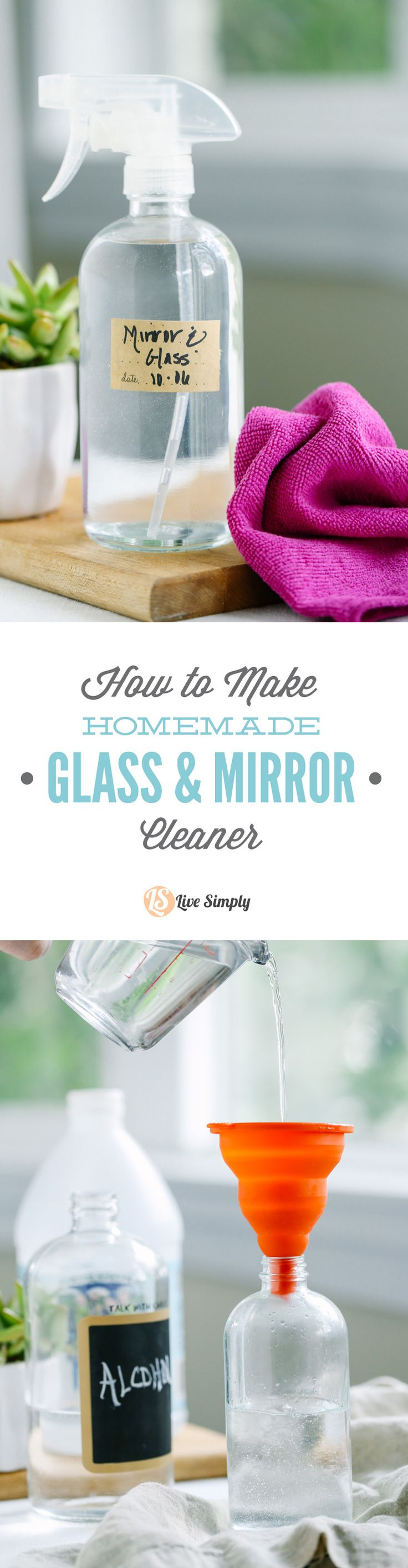 So easy! Just three ingredients, that's all you need to make a super effective glass cleaner at home. For mirrors, glass coffee tables, windows, and even some stainless steel appliances.
