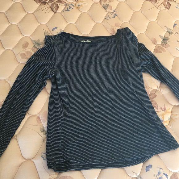 Eddie Bauer shirt Nice, warm dark blue striped Eddie Bauer shirt. It is nice to wear as a layer. Eddie Bauer Tops Tees - Long Sleeve