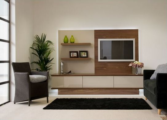 Modern bespoke TV furniture arrangement in walnut and high gloss glass