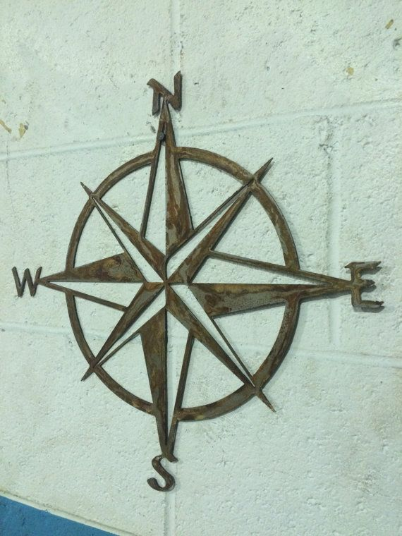 Rustic Patina Nautical Star Compass steel metal by LewisMetalWorks