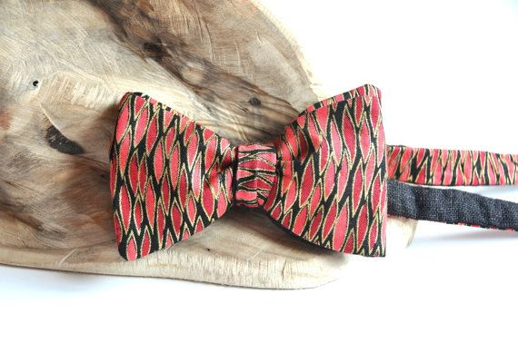 Red Bow Tie. Black Bow Tie. Gold Bow Tie. by WingedBowTies on Etsy