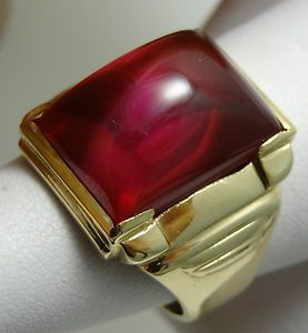 Vintage Antique Mens Ruby Ring 10k Solid Yellow Gold