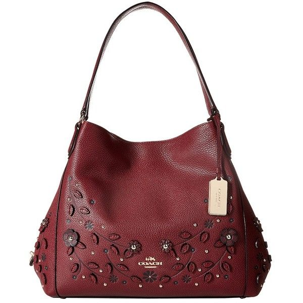 COACH Willow Floral Edie 31 Shoulder (LI/Burgundy) Handbags ($450) ❤ liked on Polyvore featuring bags, handbags, shoulder bags, shoulder strap purses, man bag, boho shoulder bag, coach shoulder bag and coach purses