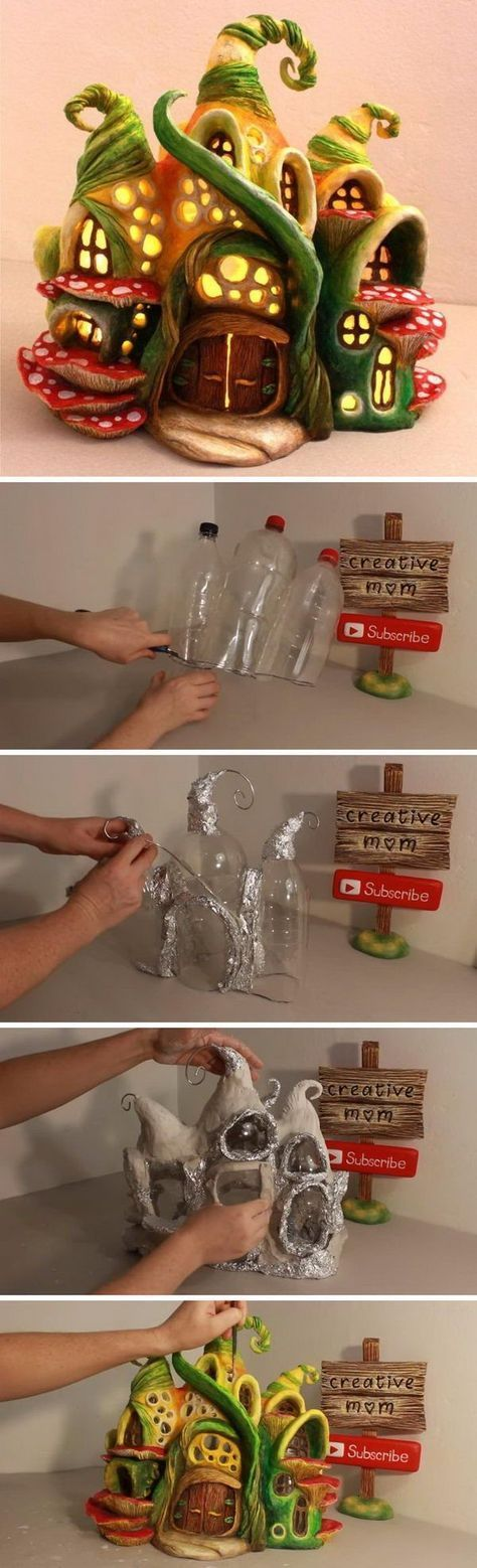 Ein Elfenhäuschen auf Plastikflaschen: Wie toll!