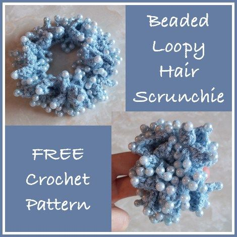 Beaded Loopy Hair Scrunchie, free pattern and tutorial, #haken met kralen, gratis patroon (Engels) en tutorial, haar elastiek, #haakpatroon