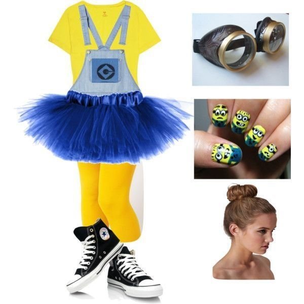 {no-so} cute minion costume. Well, it DID turn out like the pic, but I made the tutu as an over-skirt (I am NOT going to wear it like that) ... and, well, - it. looked. stupid.!!!!!