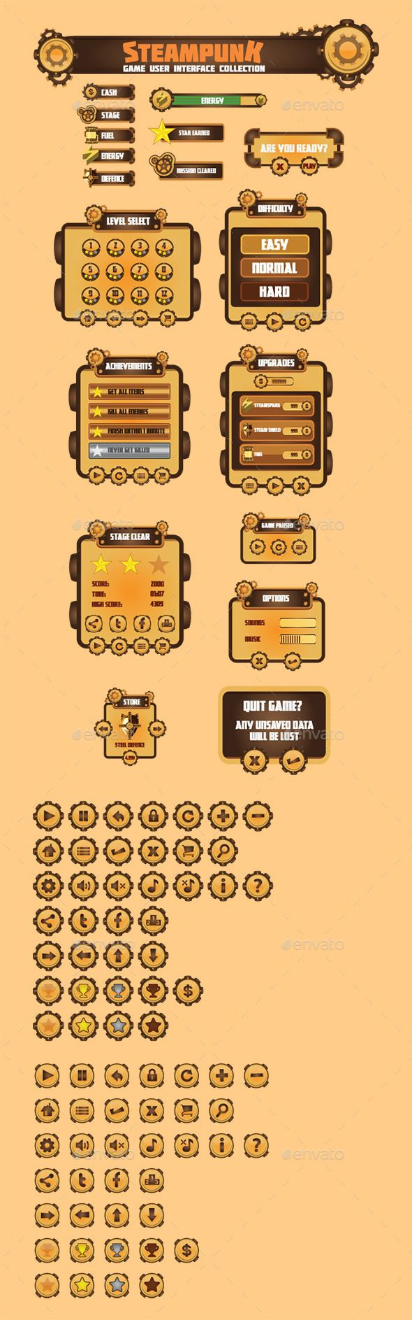 Steam Punk Game User Interface Set (Vector EPS, AI Illustrator, CS, 2d, alloy, black, bronze, brown, cog, copper, dark, game asset, game vectors, gear, gold, grey, gui, industry, iron, mechanical, mechanism, metal, power, punk, rust, silver, specific, steam, steaming, steampunk, theme, user interface, wheel)
