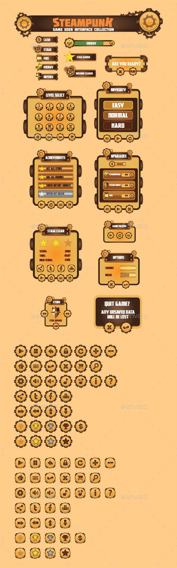 Steam Punk Game User Interface Set (Vector EPS, AI Illustrator, CS, 2d, alloy, black, bronze, brown, cog, copper, dark, game asset, game vectors, gear, gold, grey, gui, industry, iron, mechanical, mechanism, metal, power, punk, rust, silver, specific, steam, steaming, steampunk, theme, user interface, wheel)