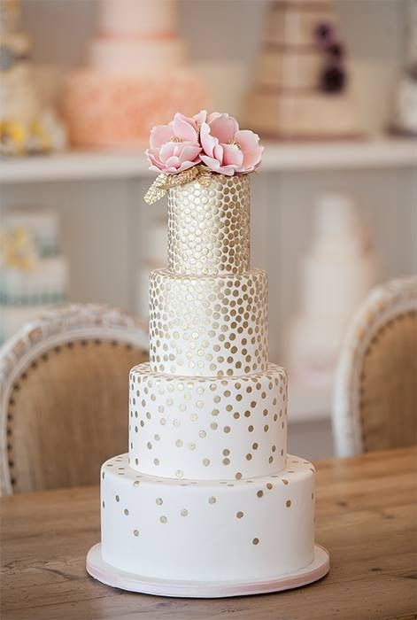 """White gold dotted wedding cake. We can help achieve this look at Dallas Foam with cake dummies, cupcake stands and cakeboards. Just use """"2015pinterest"""" as the item code and receive 10% off your first order @ www.dallas-foam.com. Like us on Facebook for more discount offers!"""