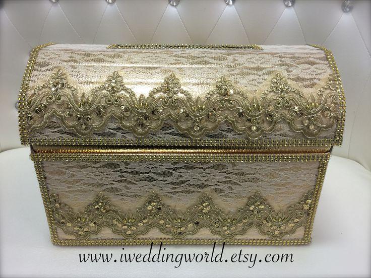 gold treasure box wedding card/moneybox. www.iweddingworld.etsy.com