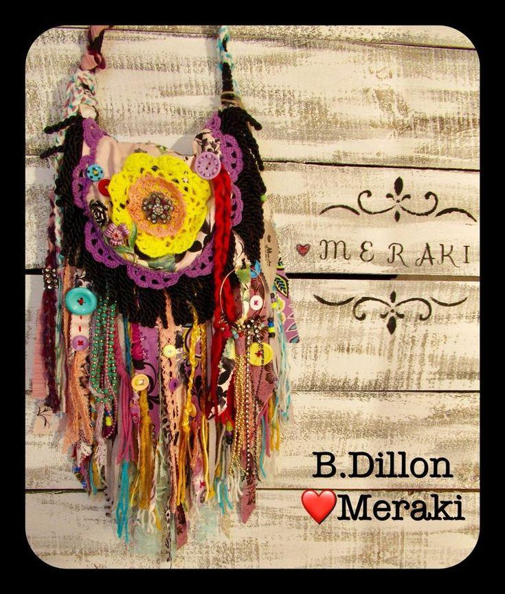 Handmade Boho Gypsy Hippie Purse B.Dillon ❤️MERAKI- Fringe Bag - Vintage Brooch #MERAKIByBDillon #ShoulderBag