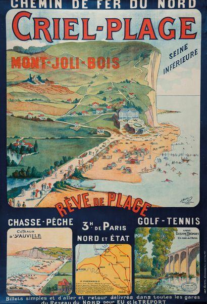 illustration de J. Morin - Chemin de fer du Nord - Criel-Plage - Mont Joli-Bois - Coteaux d'Yauville - Dieppe - Tréport -