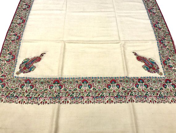 Papier Mache Hand Embroidered Pure Pashmina Shawl Pure
