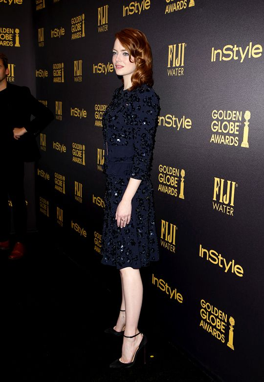 Emma Stone attends the reveal of Miss Golden Globe 2017 during the celebration of the 2017 Golden Globe Award season by The Hollywood Foreign Press Association (HFPA) and InStyle, in West Hollywood, California (November 10, 2016)