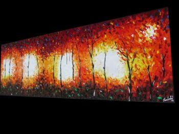 Crawford, Jane - Aboriginal Art Painting Canvas Bush Fire Dream 2.1m