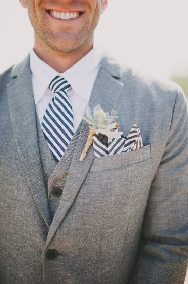groom in grey suit with seersucker/stripes #weddings