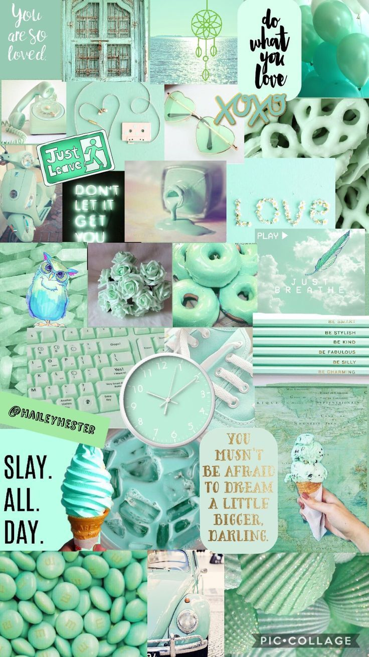 Mint Green Aesthetic Collage Cute Iphone Wallpapers Mint